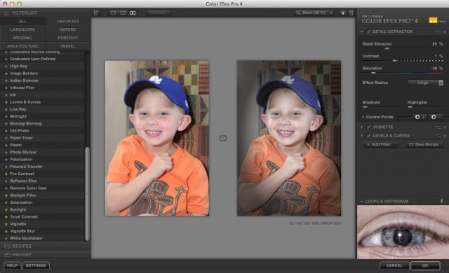 The Color Efex Pro 4.0 interface
