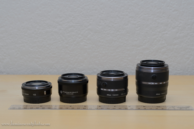 959e7c2ebdf The 18.5mm f/1.8 1 Nikkor (second from left) is smaller and lighter than  the kit zoom lenses.