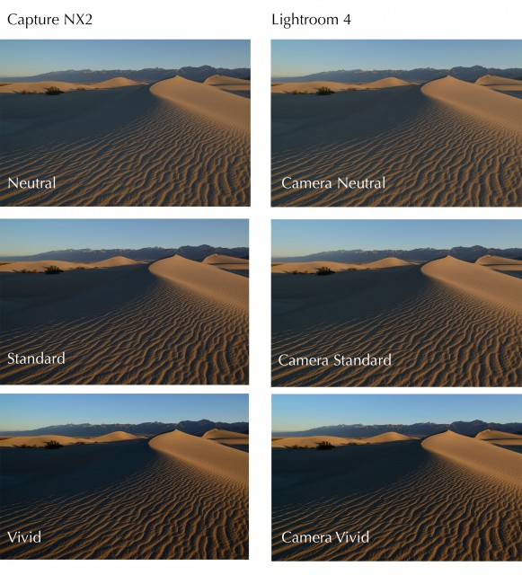 A quick comparison of Capture NX2 conversions (left) versus the Lightroom 4 counterpart using Camera Profiles (click to enlarge).