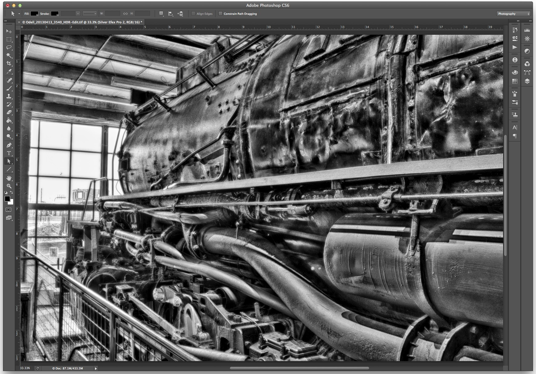 I used Silver Efex Pro 2 on the HDR image to convert to monochrome and enhance textures.