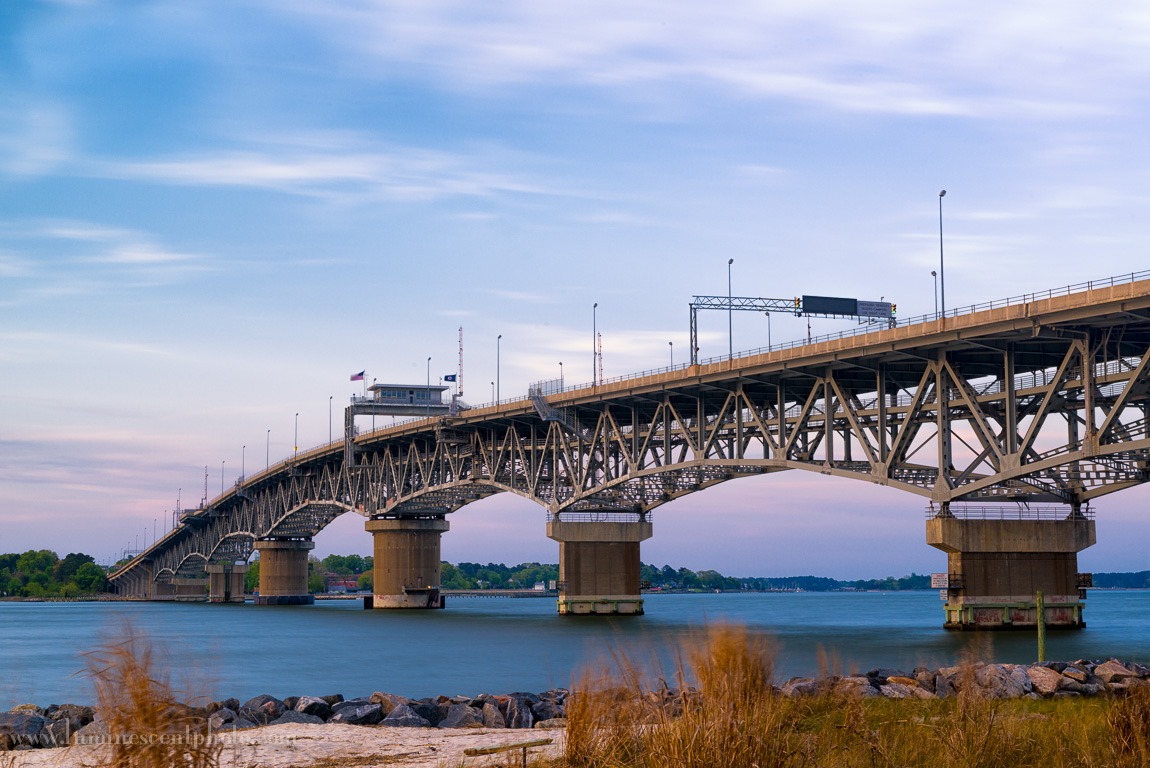 "The George P. Coleman Bridge, Yorktown, VA. Nikon D800e with 24-70mm f/2.8 AFS G Nikkor. 15"" exposure using Singh Ray Vari-N-Duo filter (click to enlarge)."