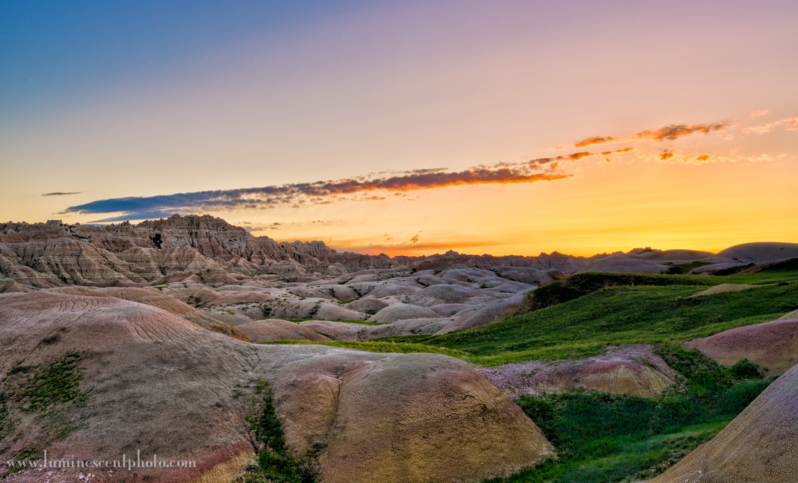 Sunrise at Conata Basin, Badlands National Park, SD.  HDR image captured with a Nikon D800e and processed with the Nik Collection.
