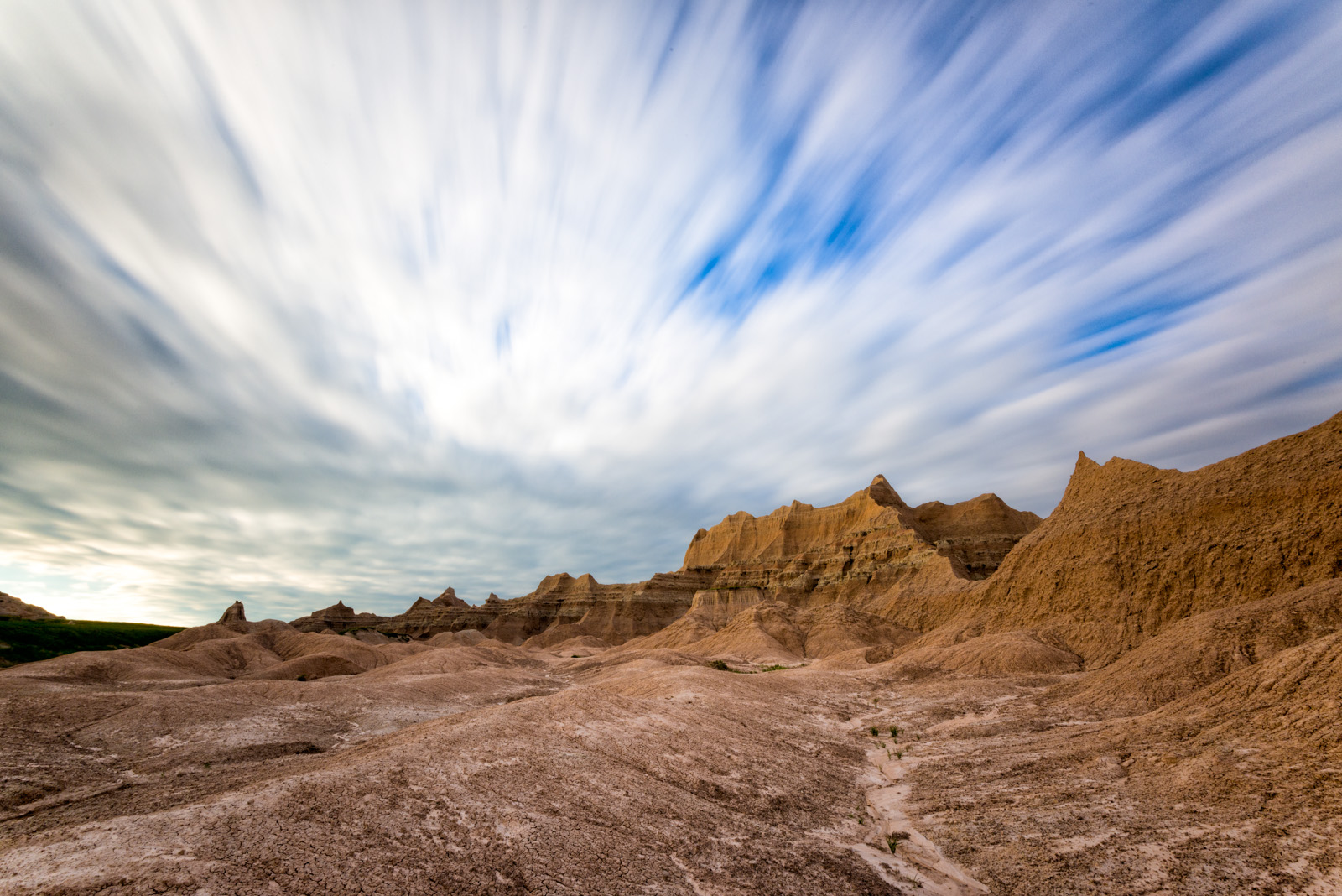 Sweeping skies over Badlands National Park, South Dakota. Nikon D800e with 16-35mm Nikkor lens, 74s@ f/22, ISO 100.
