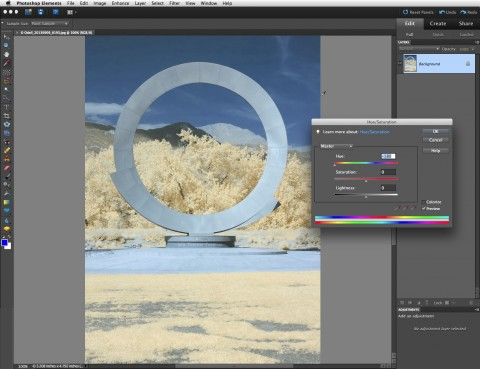 You can use Photoshop Elements to perform a 180° Hue shift on your image and get a blue-sky effect.