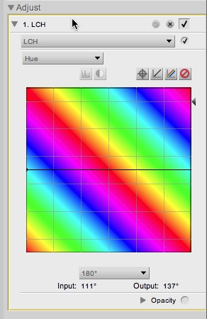 In Capture NX2, the LCH editor can be used to perform a 180°hue shift.