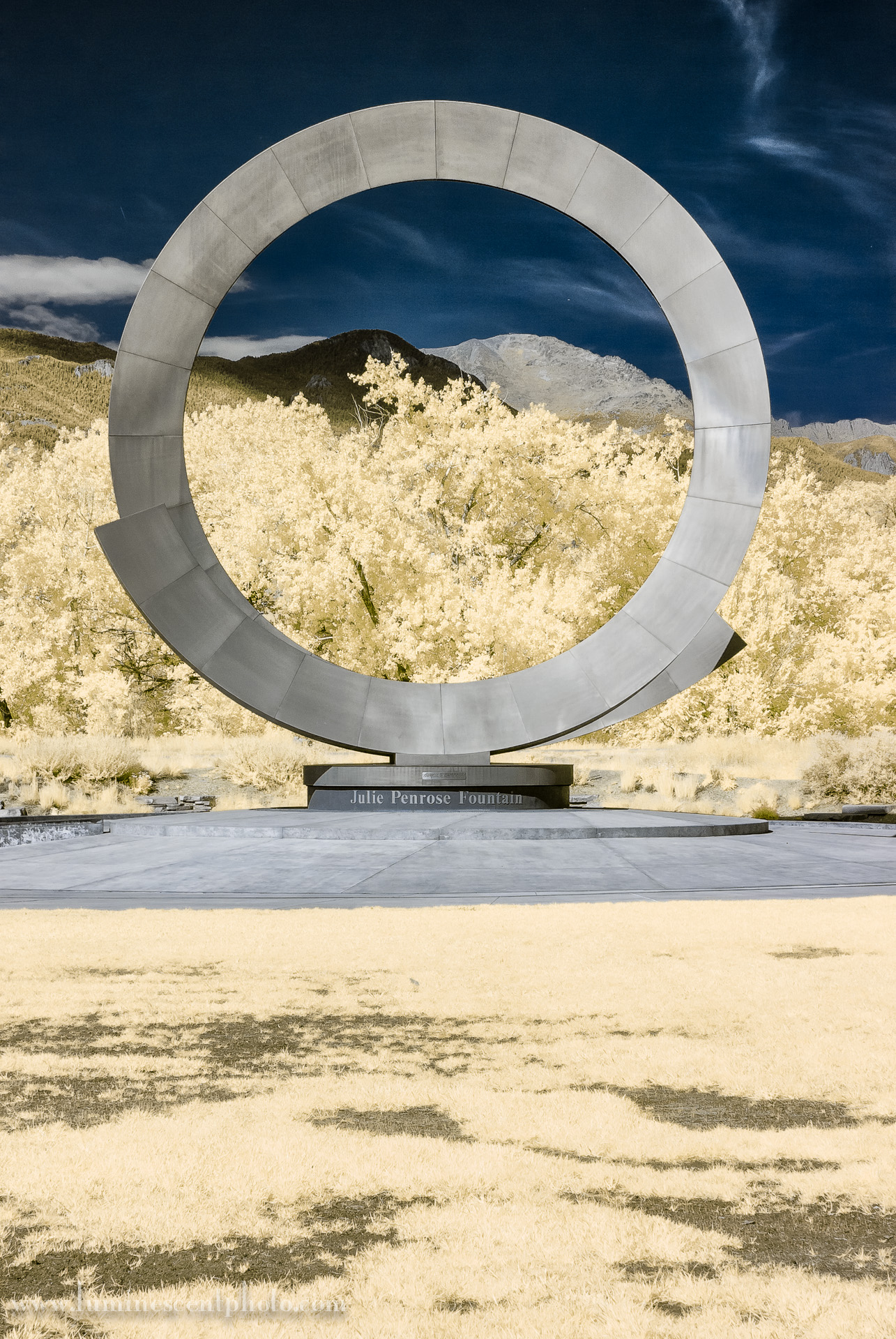 """Stargate""  Penrose Fountain, Colorado Springs, CO. Nikon 1 V1 590nm (super-color) infrared image."