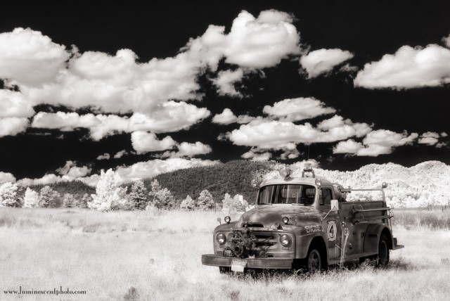 Antique Fire Truck, Teller County, CO Digital Infrared Capture with Nikon 1 V1 (590nm).