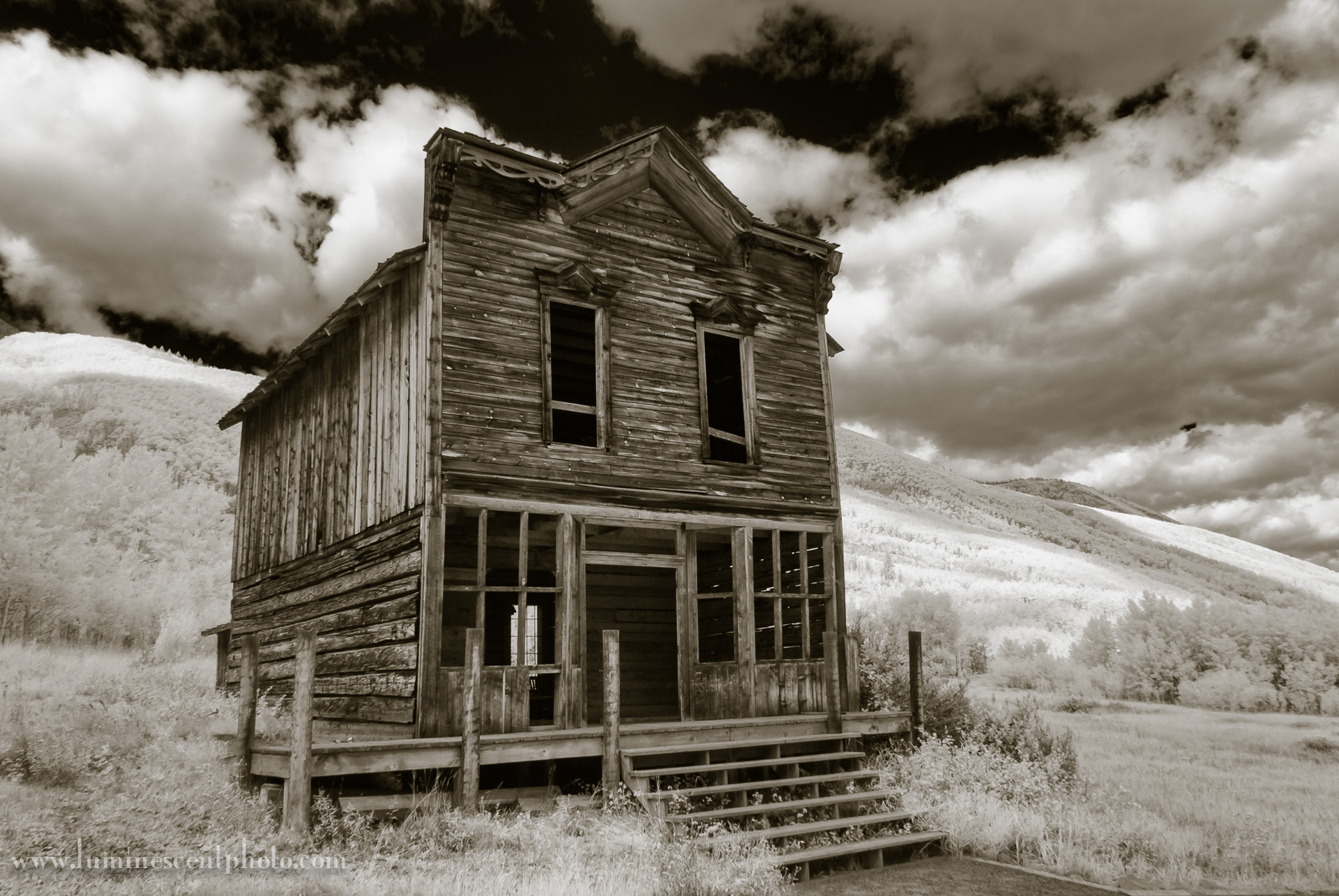 "Old building, Ashcroft mining town. Super-color infrared image processed to produce ""deep black"" style."