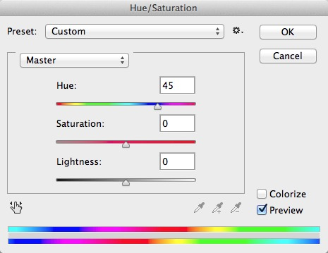Use the Hue/Saturation tool to correct colors in the channel-swapped image.