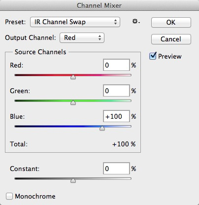 Set the Red output channel as shown.