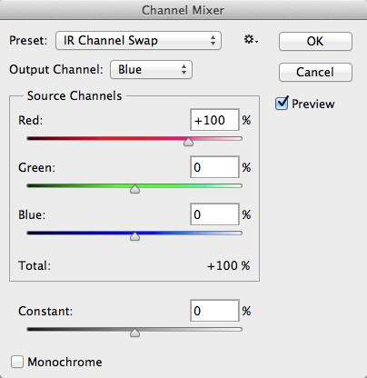 Set the Blue output channel as shown.