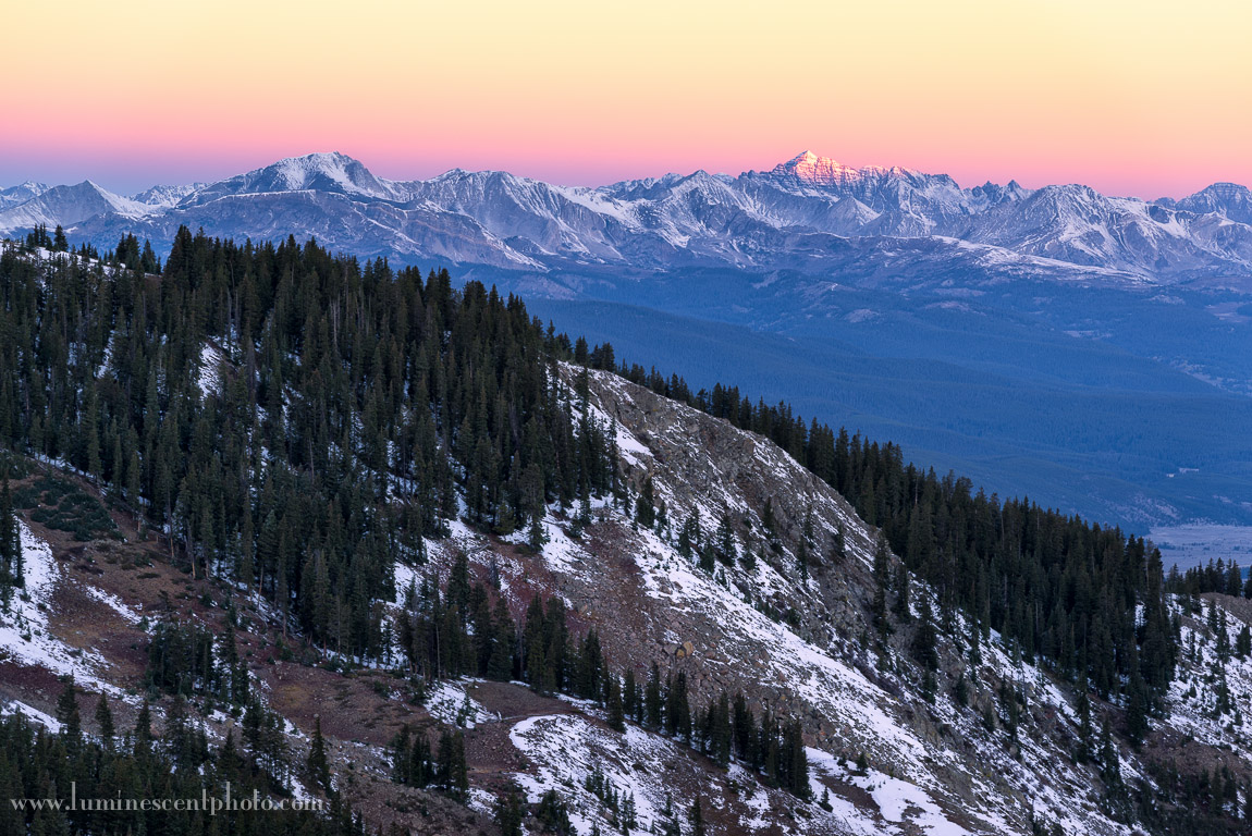 Daybreak in the Rockies, Cottonwood Pass, Colorado. Image captured with a Nikon D800e and 70-200mm f/2.8 AFS G VRII zoom Nikkor lens.