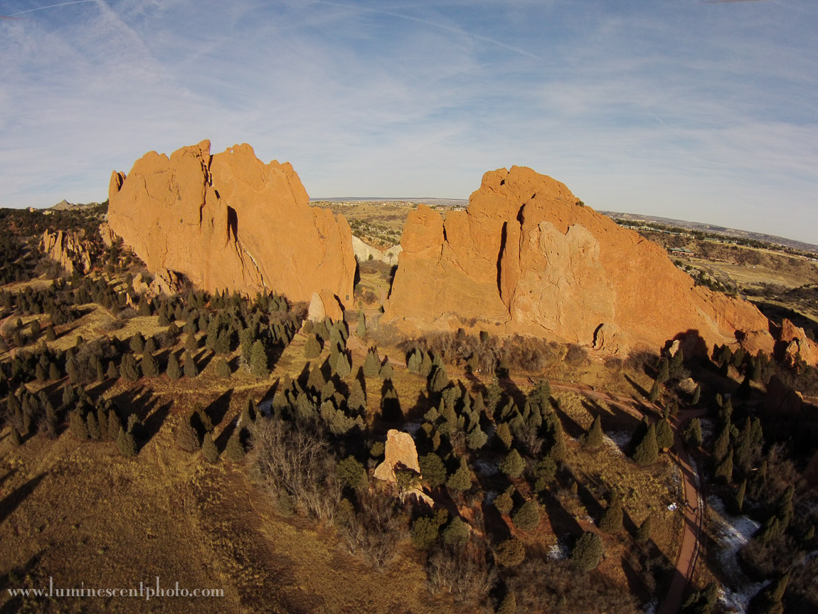 Garden of the Gods park from the air.