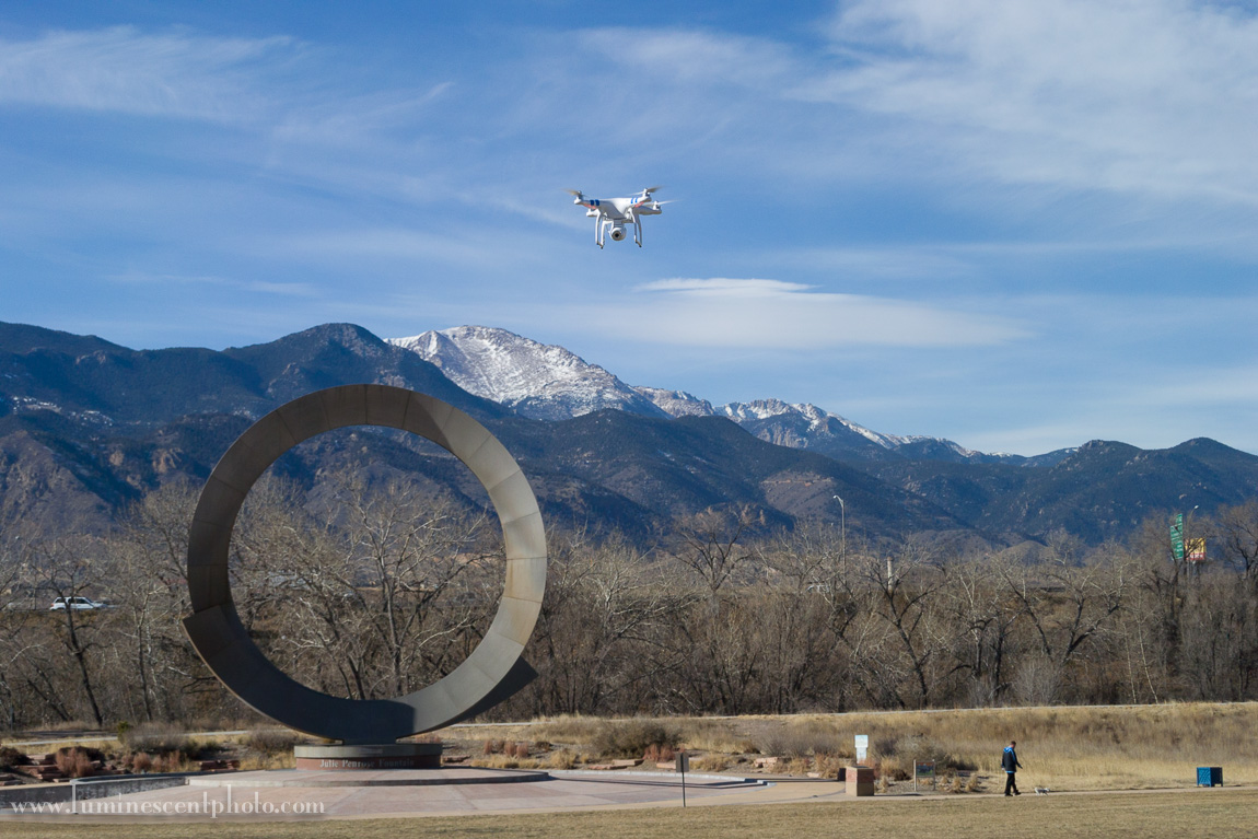My DJI Phantom 2 Vision flying over Colorado Springs. The GPS system allowed me release the controls and hover in place while I captured this photo with my Nikon 1 V2 camera.