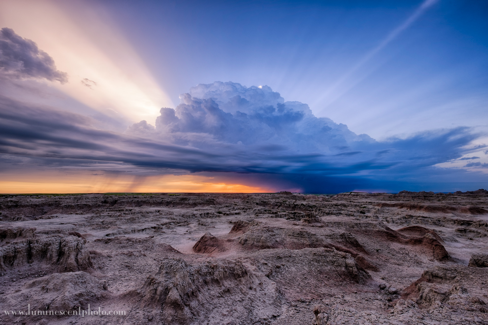 A thunderstorm moves east through Badlands National Park, South Dakota