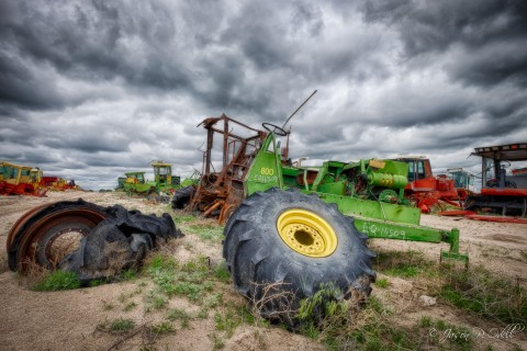 "I've arranged special access to a tractor ""graveyard;"" perfect for HDR and monochrome shooting!"