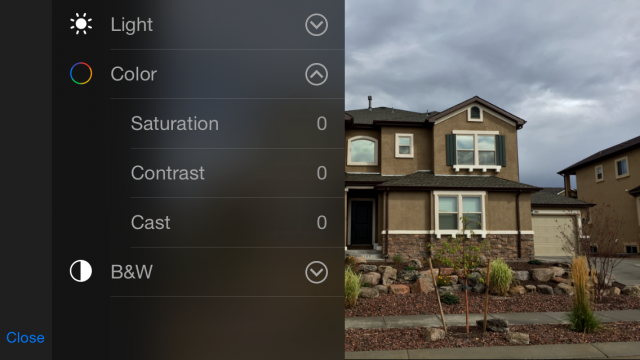 The Color controls let you fine tune saturation and temperature.