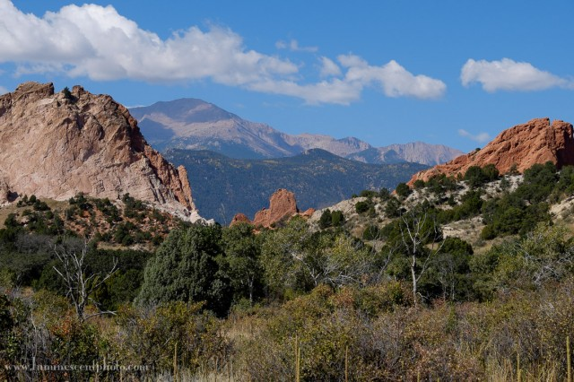 Garden of the Gods and Pikes Peak captured with the Fuji 18-135mm OIS lens.