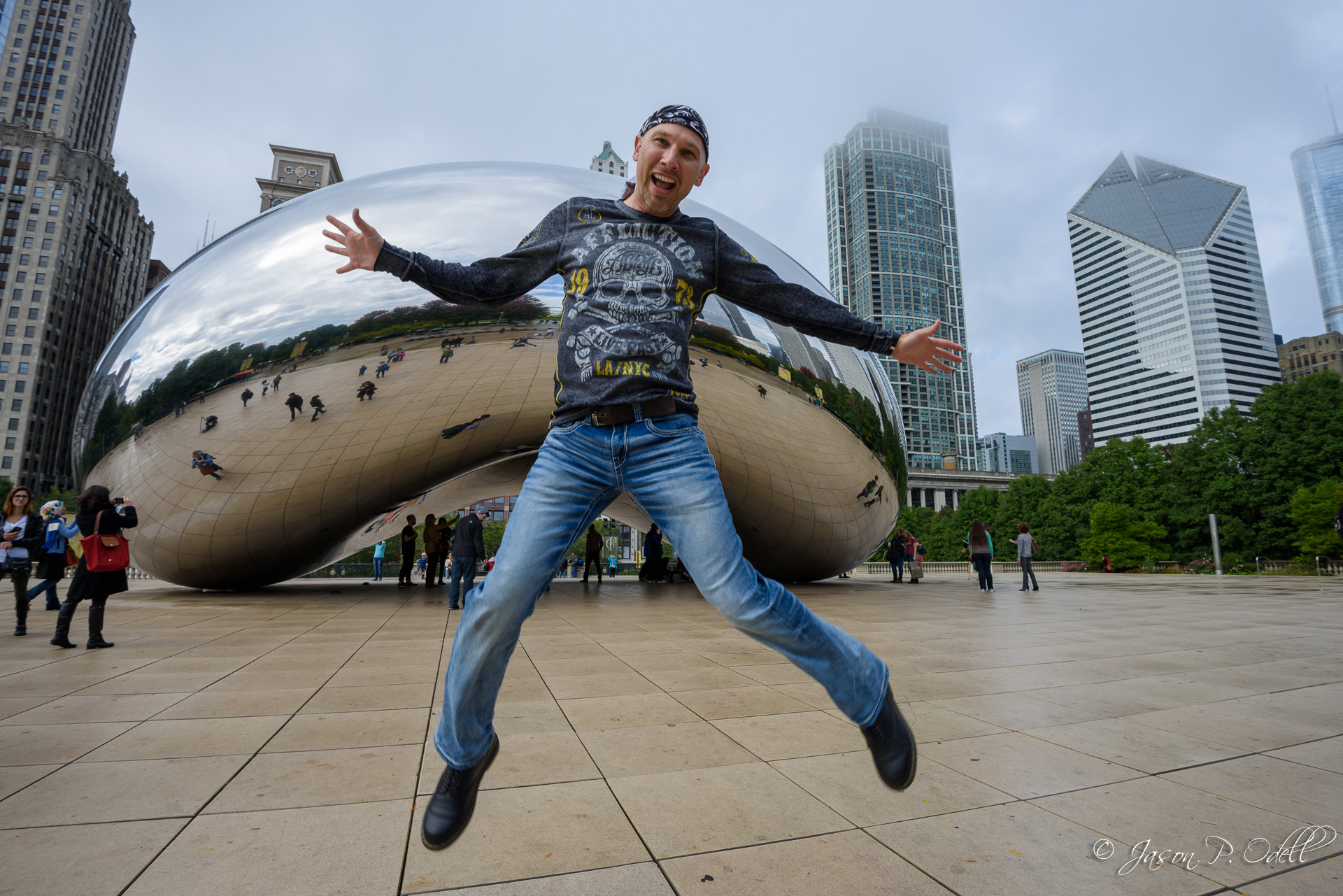 Jumping for joy at Cloud Gate, Chicago, IL.