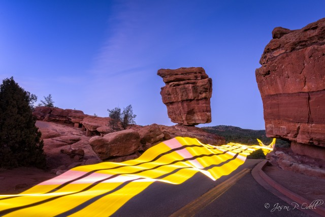 I used a LED wand called Pixelstick to create the ribbon effect in this long-exposure capture.