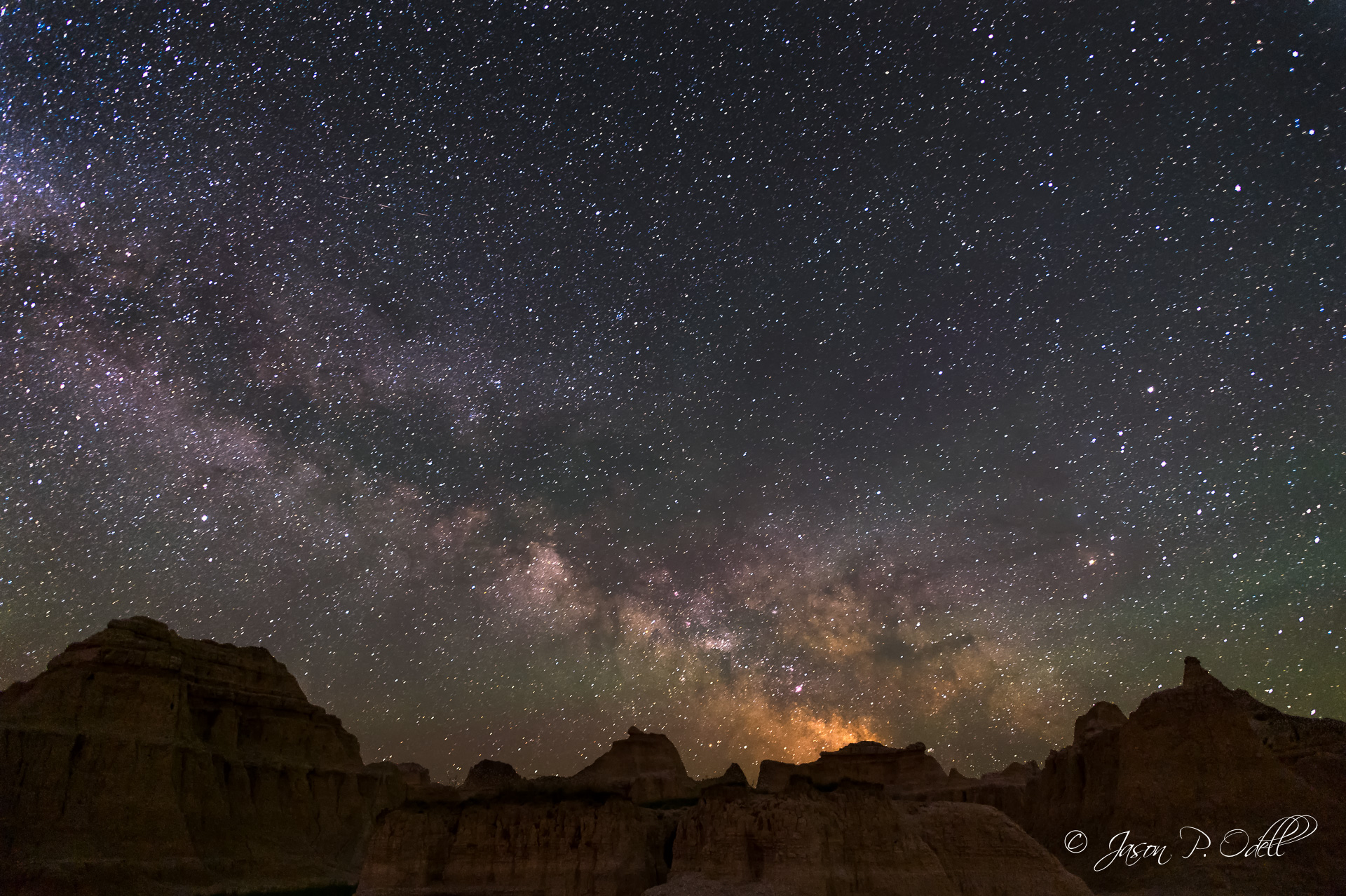 Milky Way over the Badlands of South Dakota