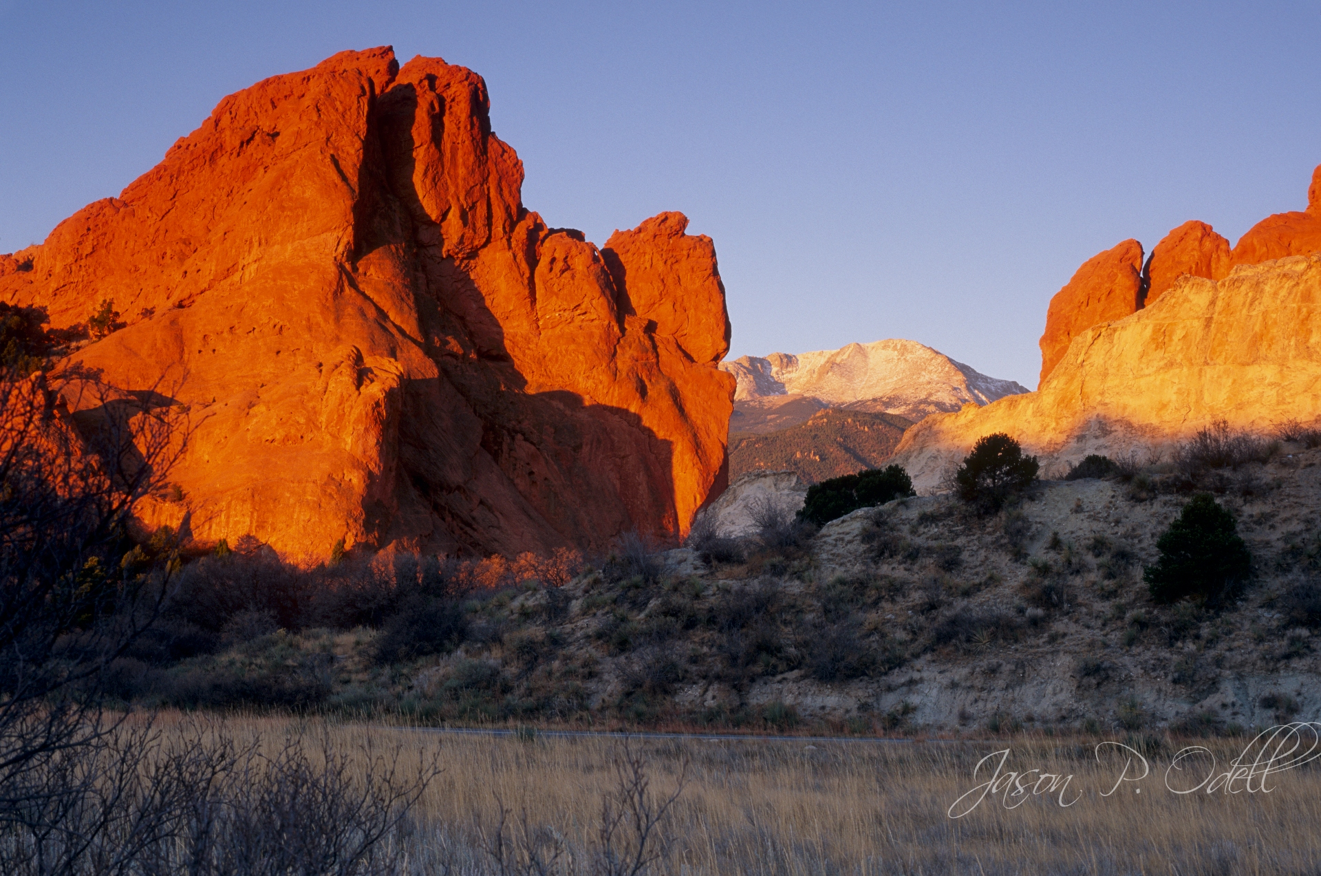Garden of the Gods & Pikes Peak, captured with Fujichrome Velvia 50 film.
