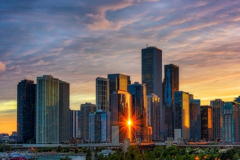 Chicago skyline at sunset.