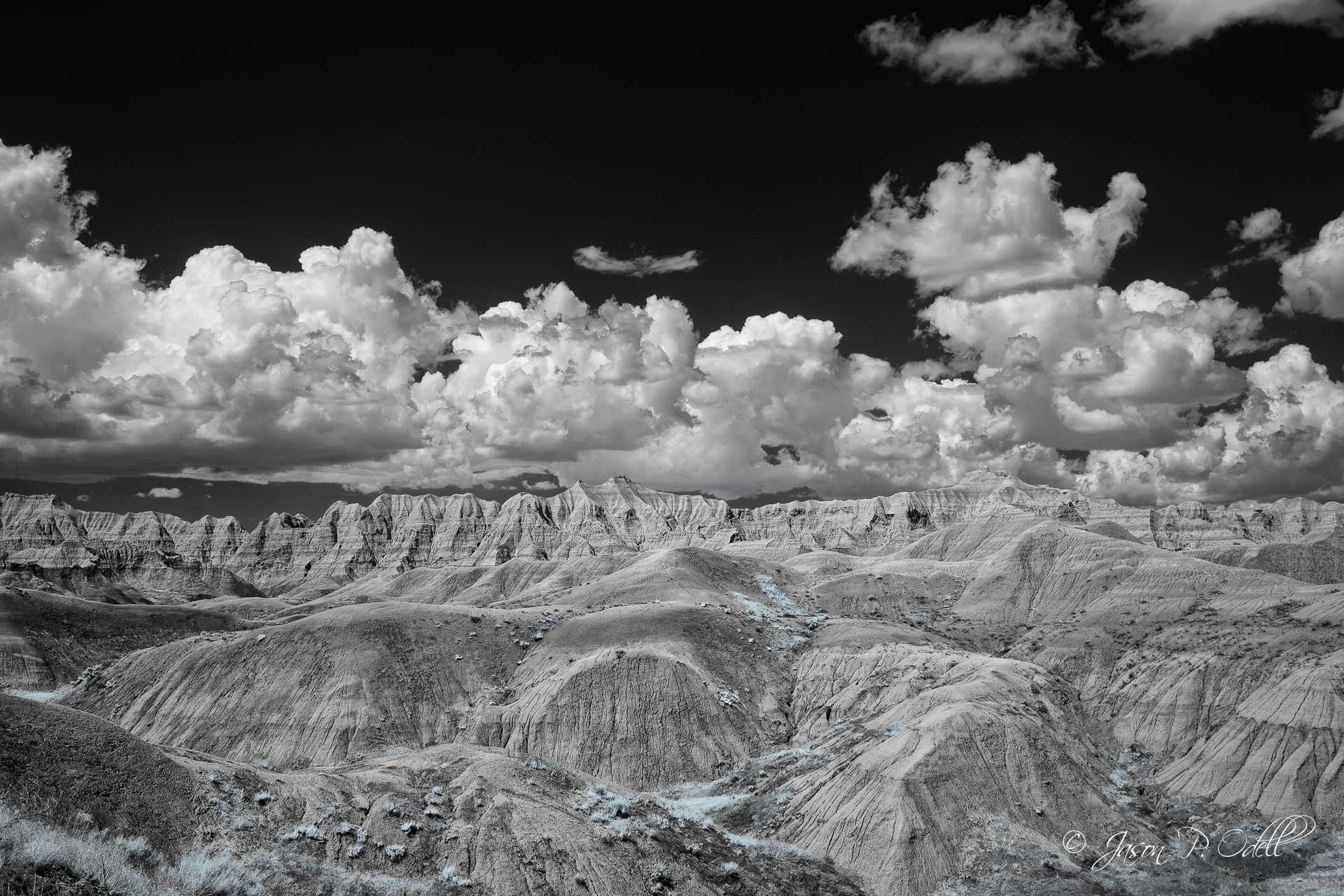 Conata Basin, Badlands National Park, South Dakota, USA. 590nm infrared capture.