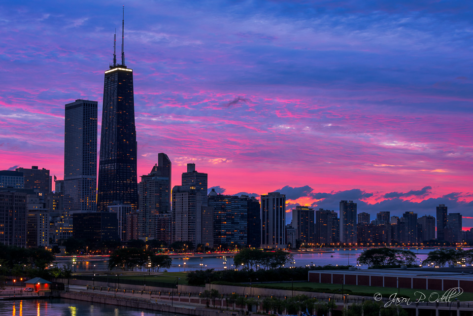 Chicago skyline at sunset, processed using Lightroom and Photoshop to expand dynamic range.