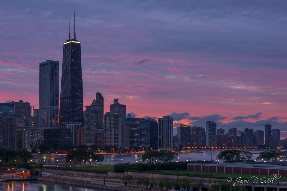 "Chicago skyline, processed using the ""Camera Flat"" profile in Lightroom."