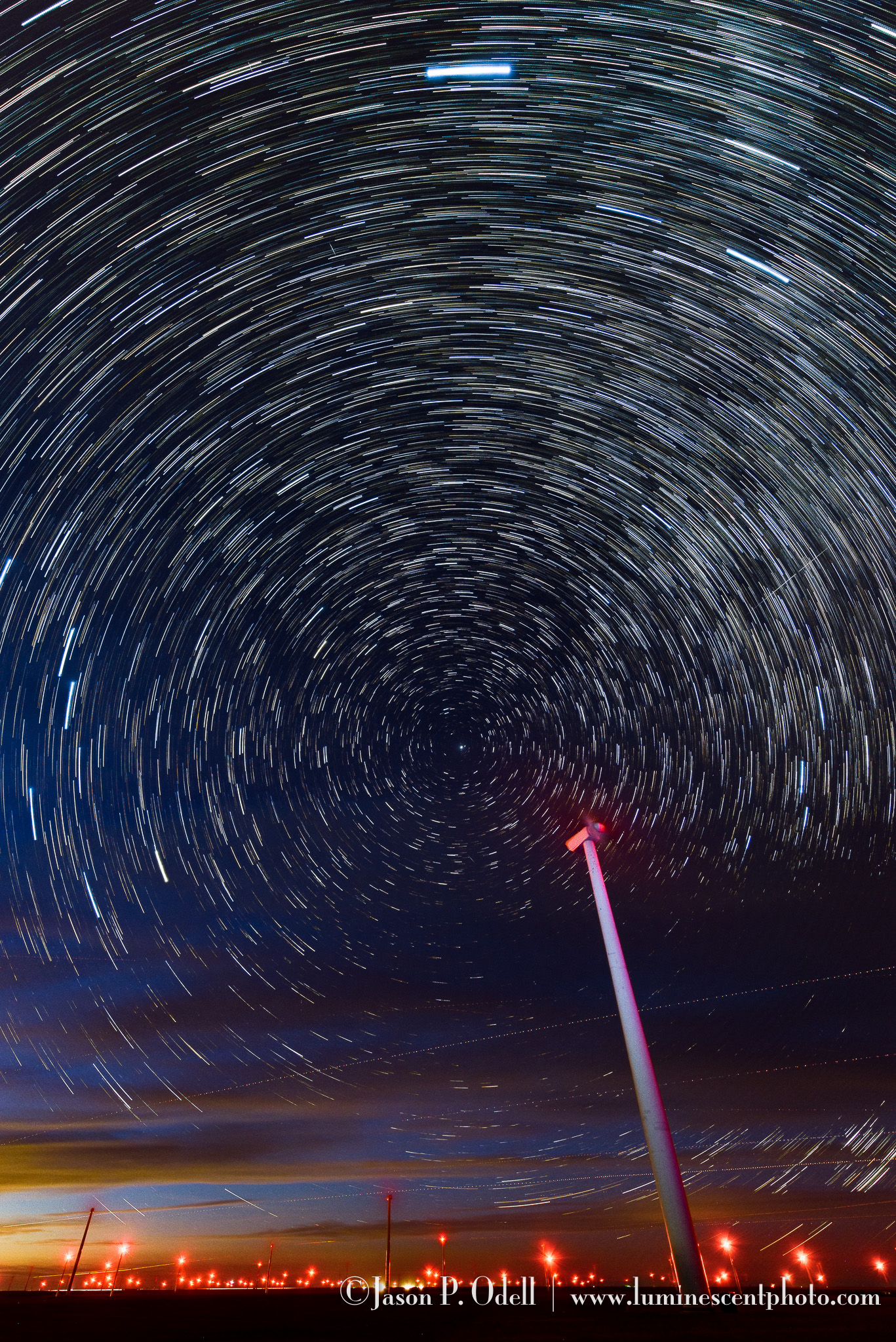 Star trails over a wind farm in eastern Colorado.