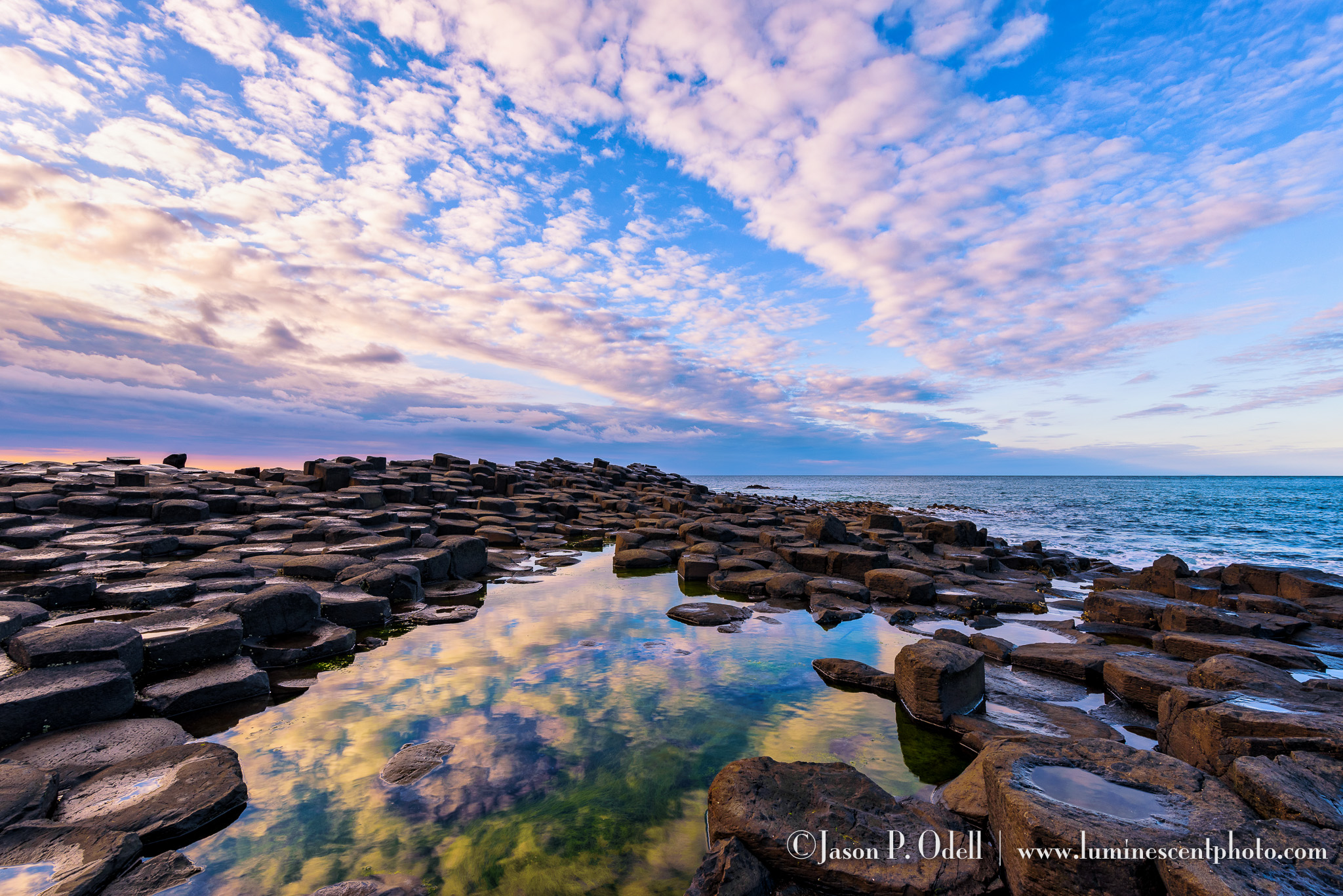 Sunset at the Giant's Causeway, Northern Ireland.