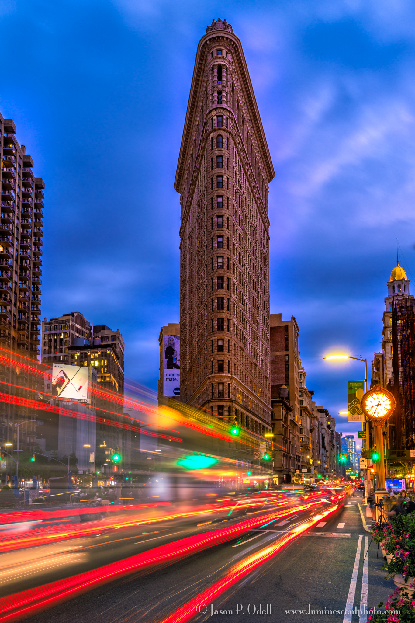 Flatiron building at twilight