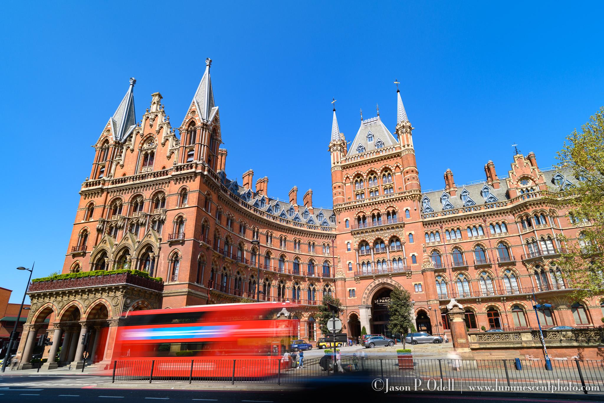 London St. Pancras station & Double-decker bus