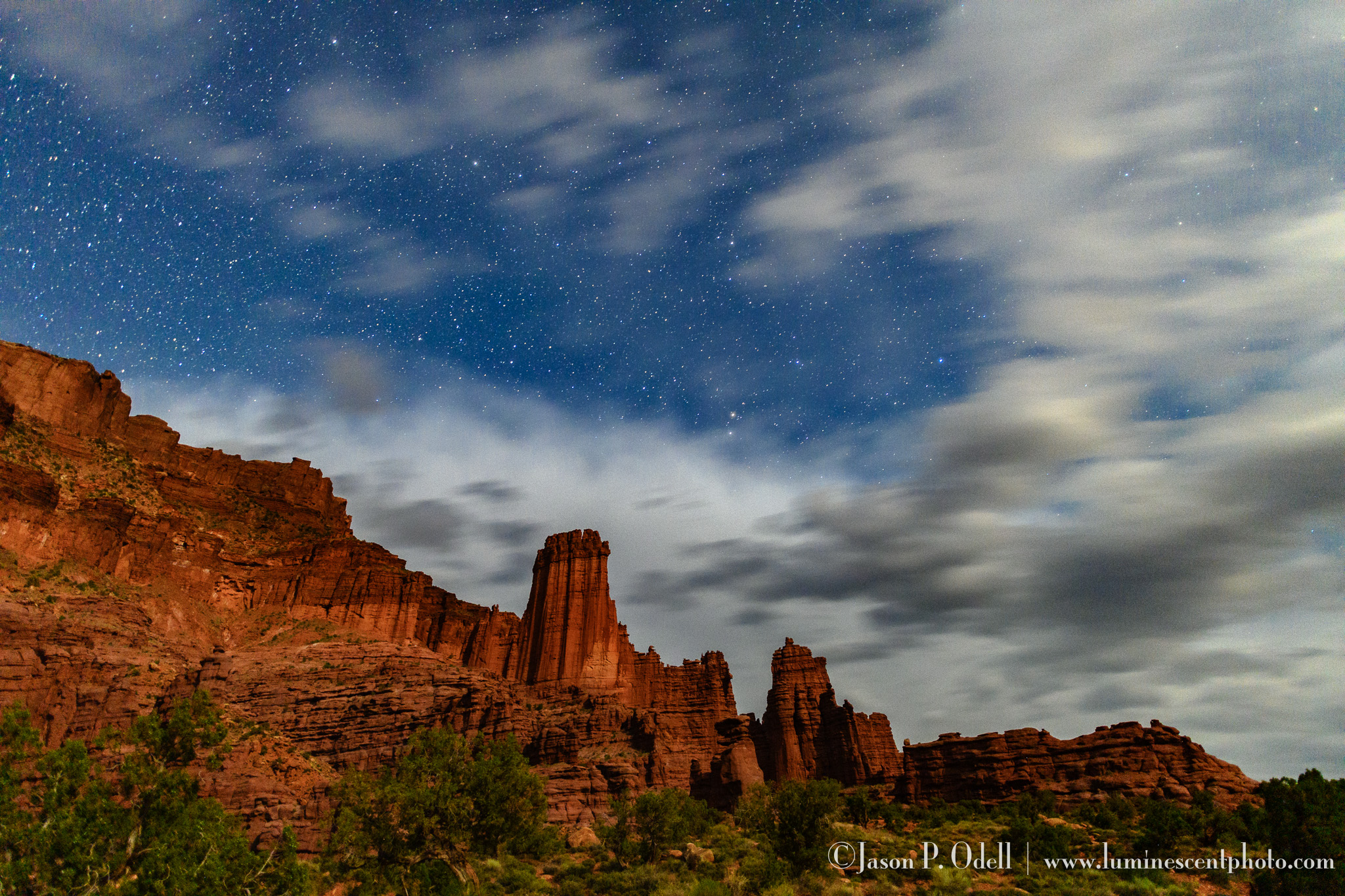 Fisher Towers at night